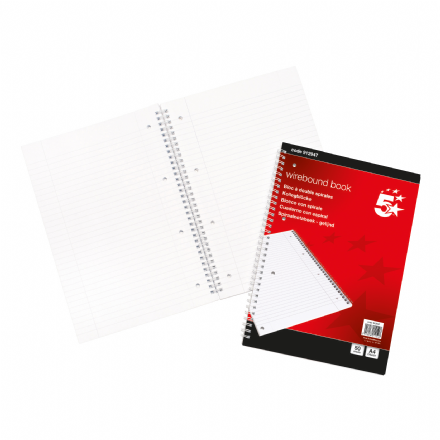 5 Star Office Wirebound Notebook 50 Leaf A4 Ruled